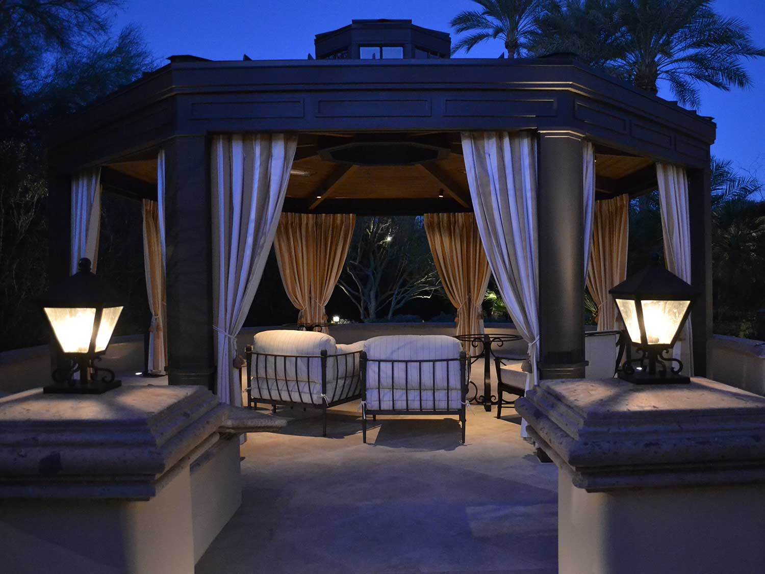 An outdoor sitting area with canopy