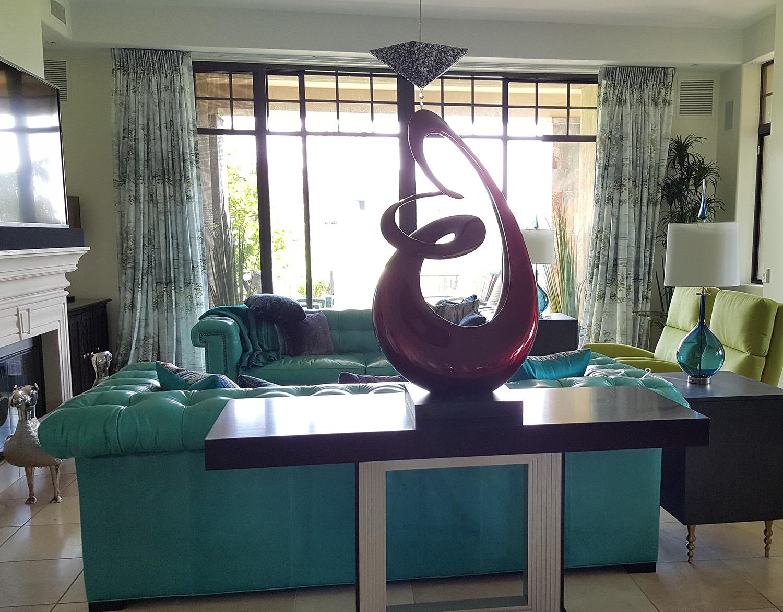 Blue retro styled living room