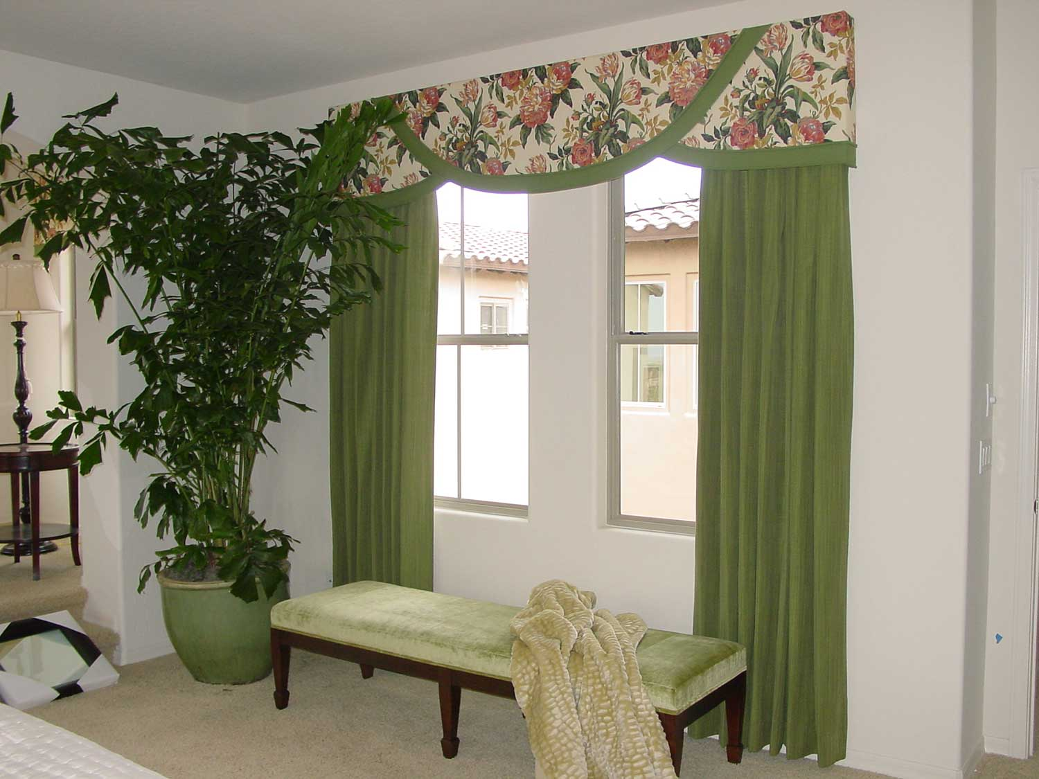 living room space with large curtains