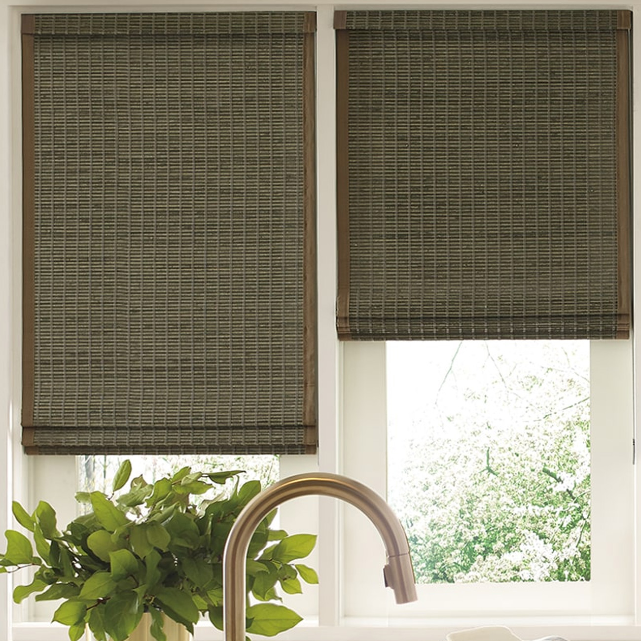 Kitchen with bamboo curtains