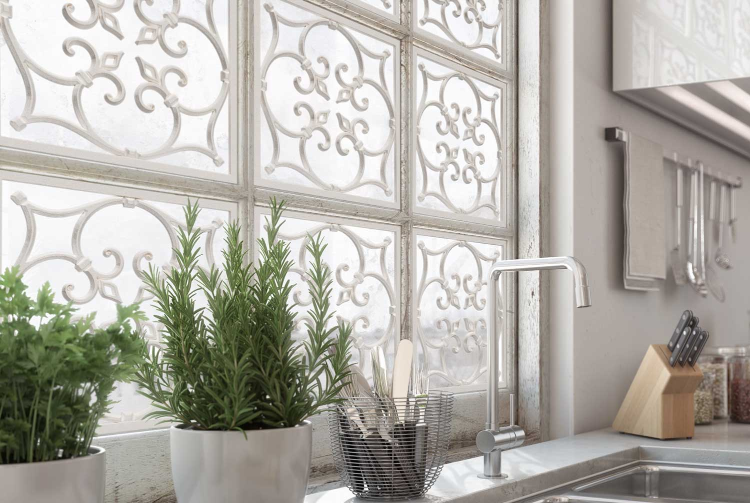 glass-paned window with metalwork above a kitchen sink