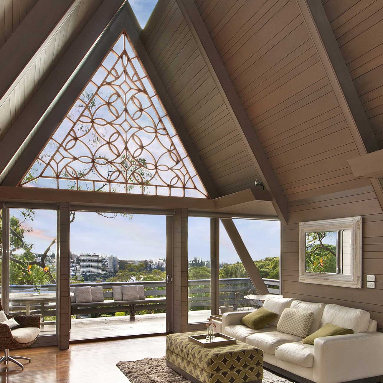 Living space with slanting roof tops