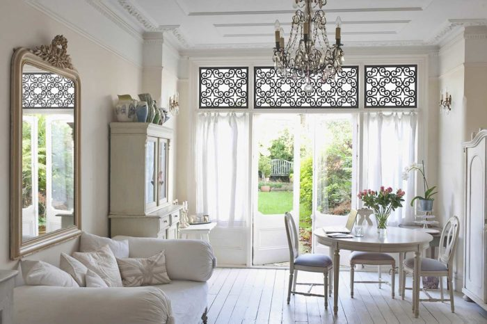 tableaux on large windows in a dining space