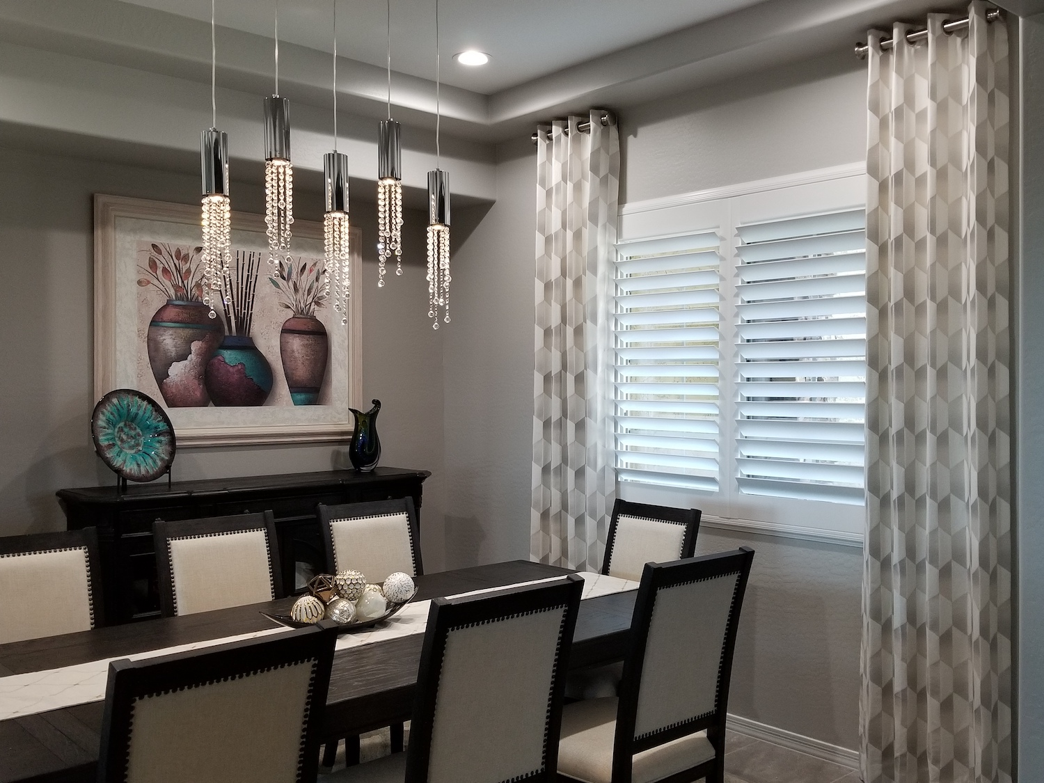 Dining Room Side Panels Over Shutters