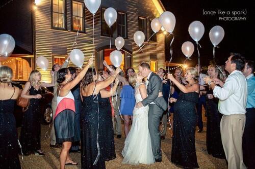 bride groom white balloons reception photos