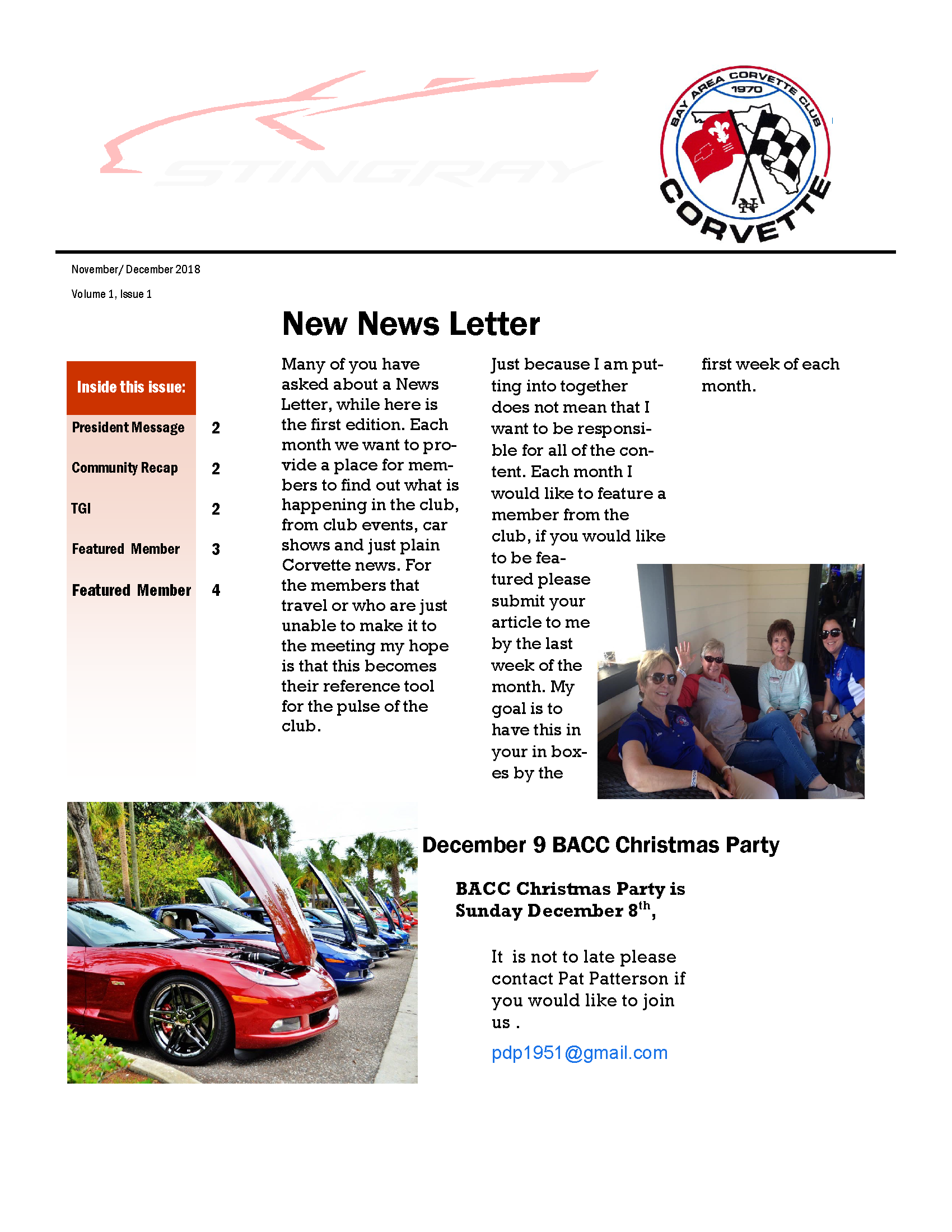Newsletter: Volume 1, Issue 1