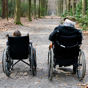 Legal guardianship photo of grandfather and grandson in wheelchairs.