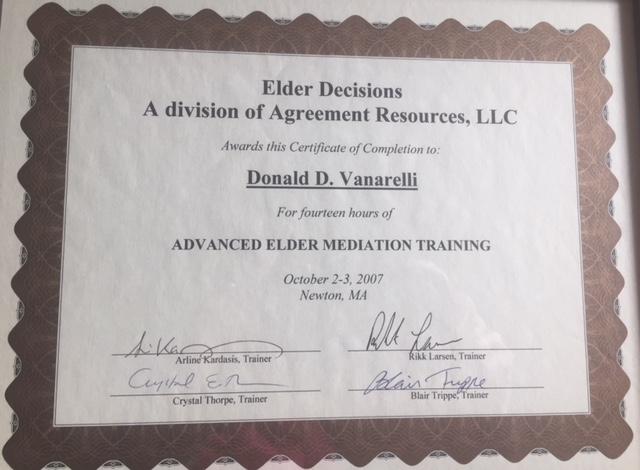 Donald D  Vanarelli, Esq , an Accredited Professional