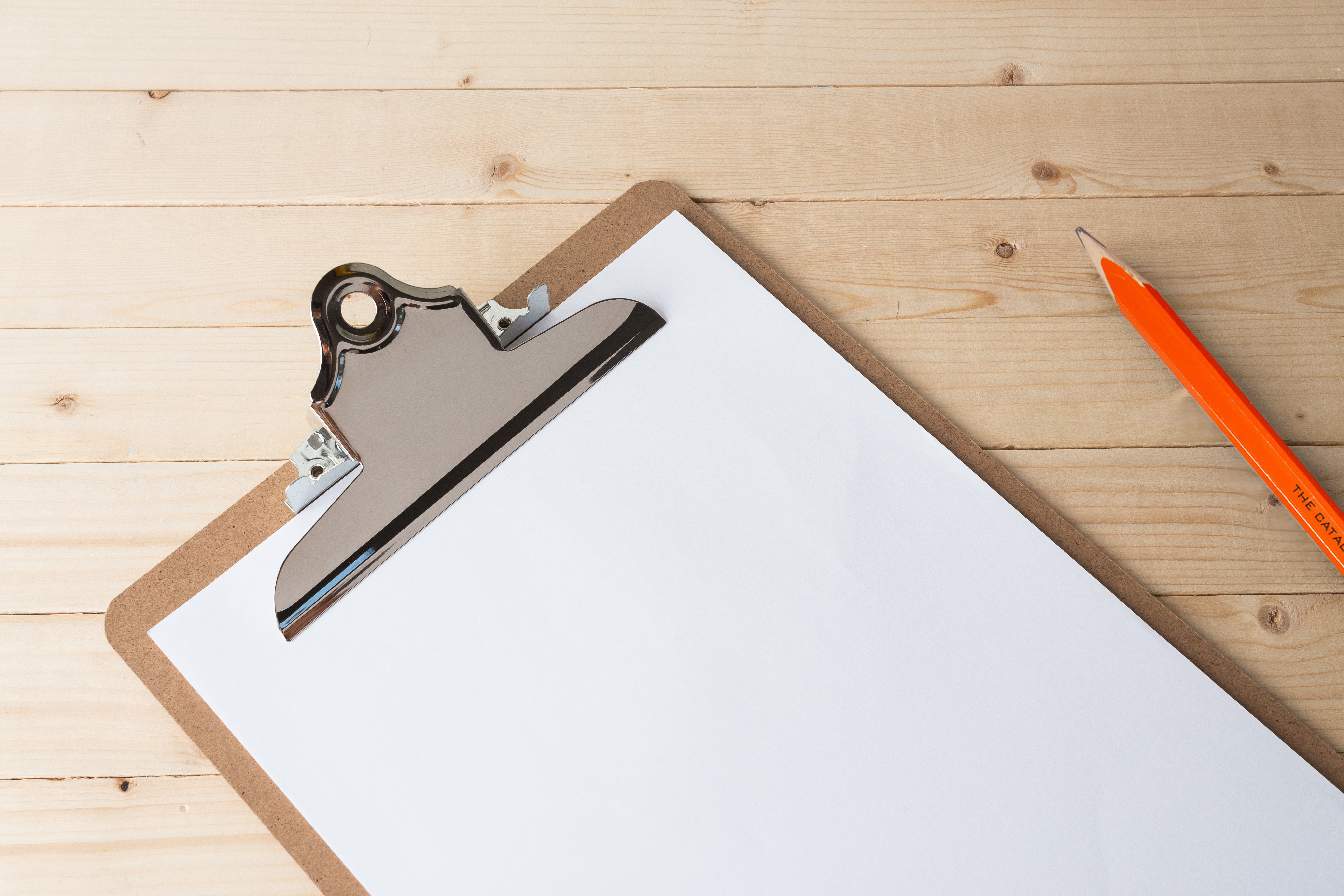 clipboard with blank sheet of white paper