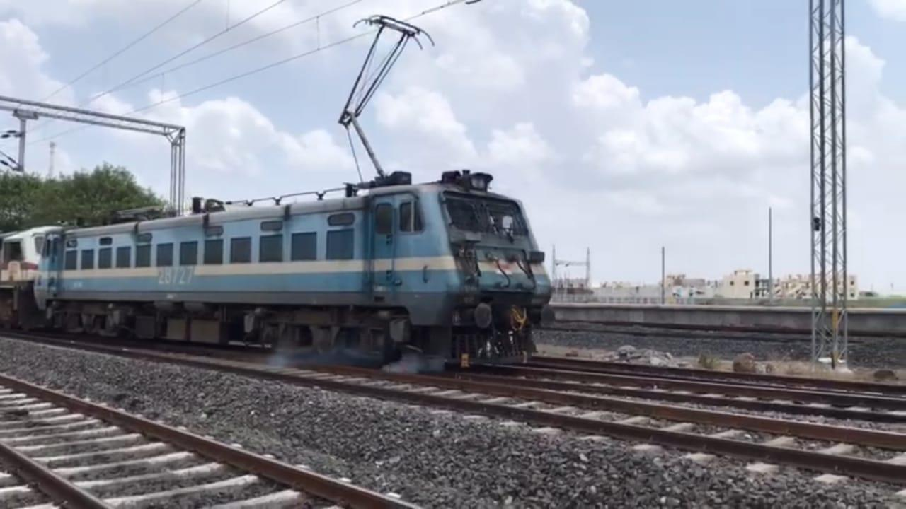 First electrified train in RJT BVP 3