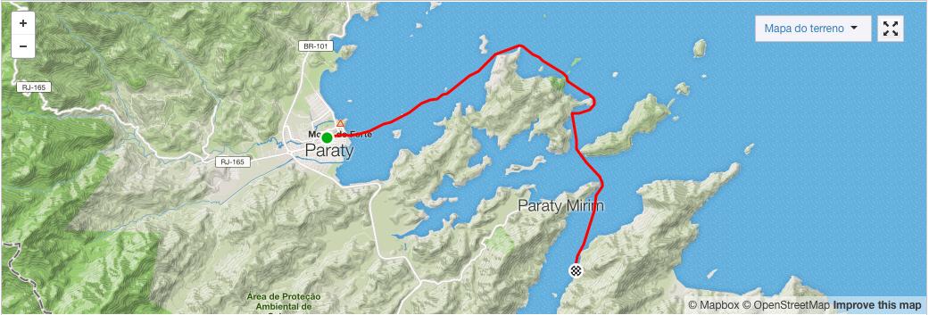 Mapa Remando de Paraty a São Sebastião