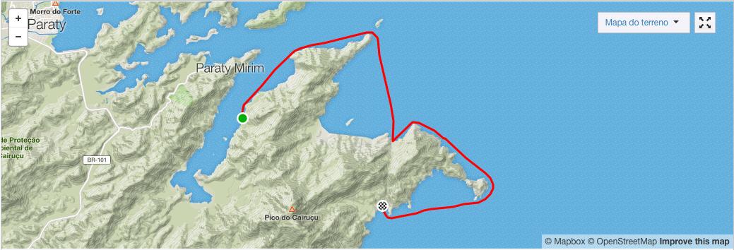 Mapa Remando de Paraty para São Sebastião