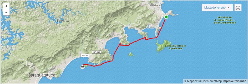 Mapa da remada de Paraty até São Sebastião