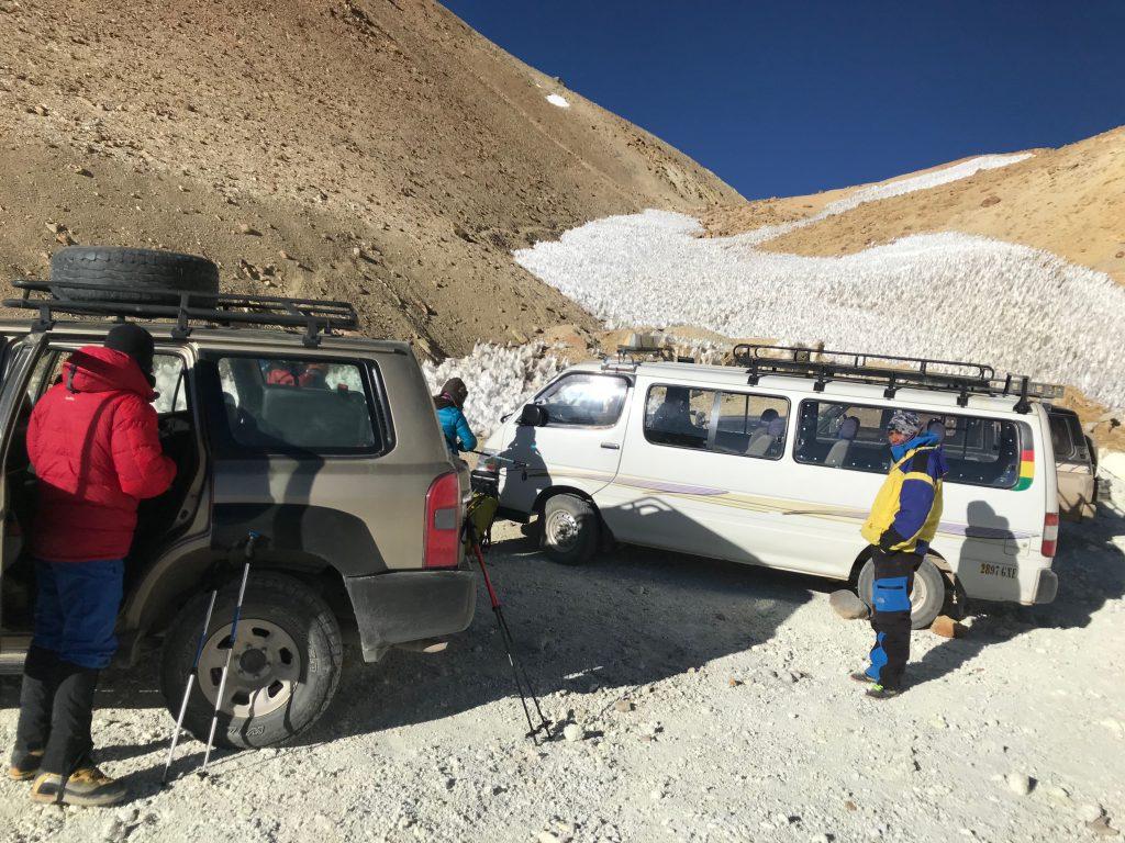 Local de início da escalada do Acotango