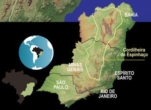 Mapa localização Serra do Espinhaço