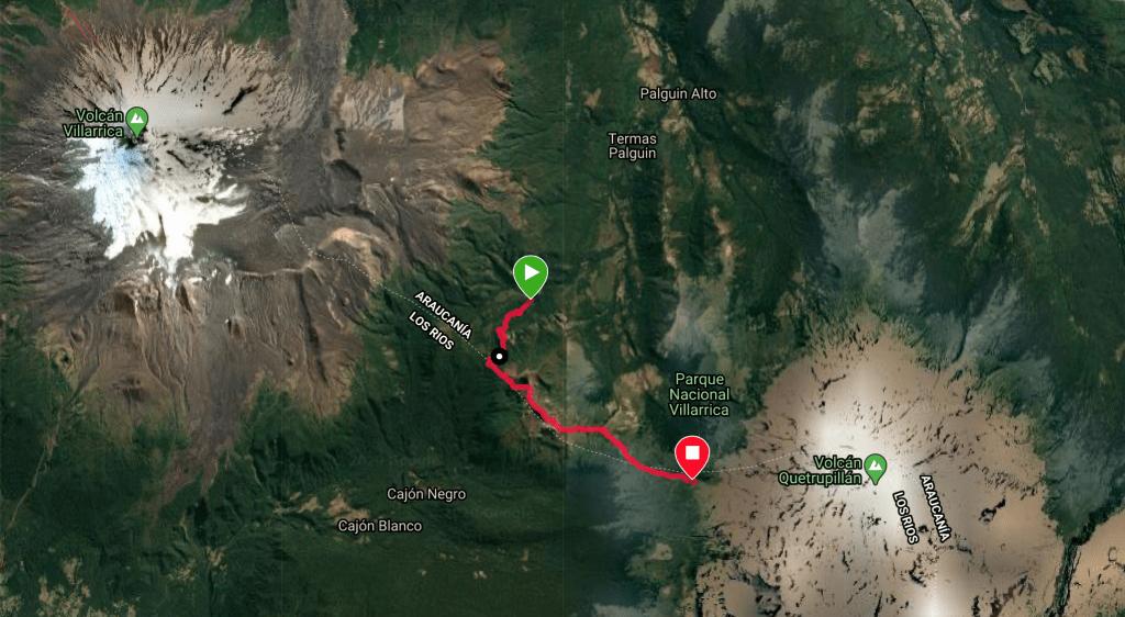 Villarrica Traverse Mapa primeiro dia