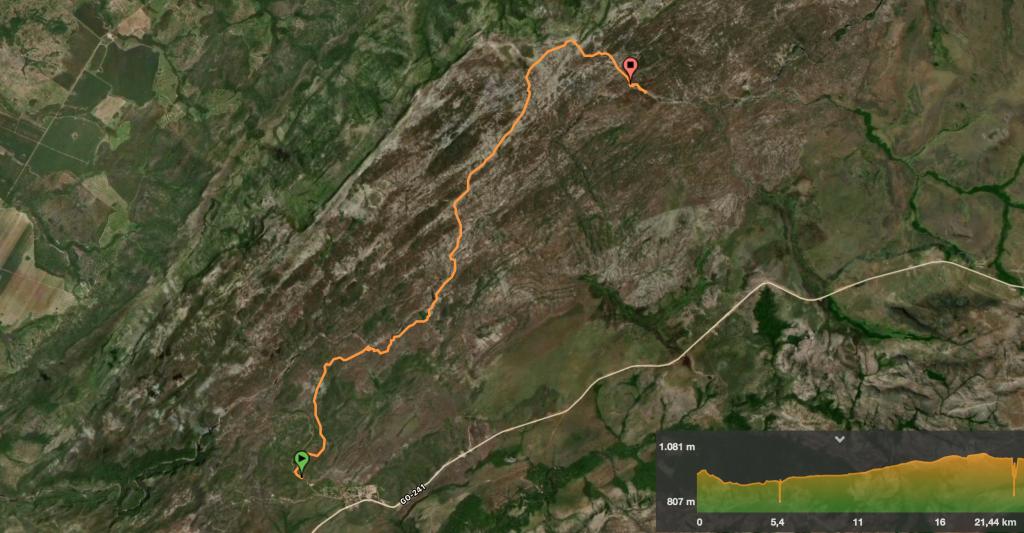 Mapa primeiro dia da Travessia das 7 quedas