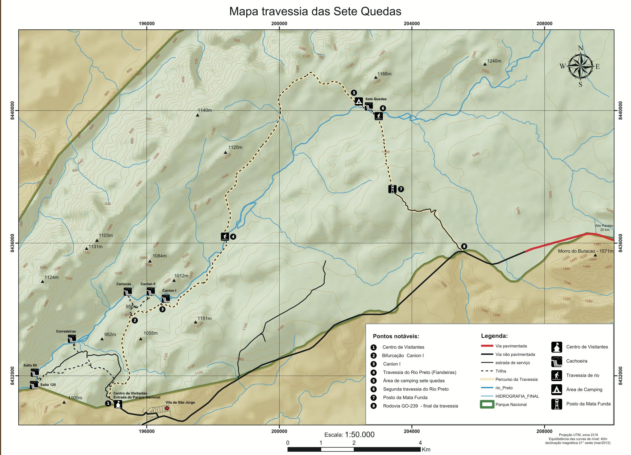 Mapa Travessia das 7 quedas