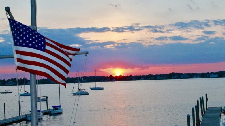 sunset over the Navesink River