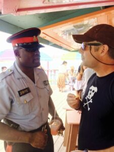Reporting the incident to the Great Guana Cay Constable at Nipper's