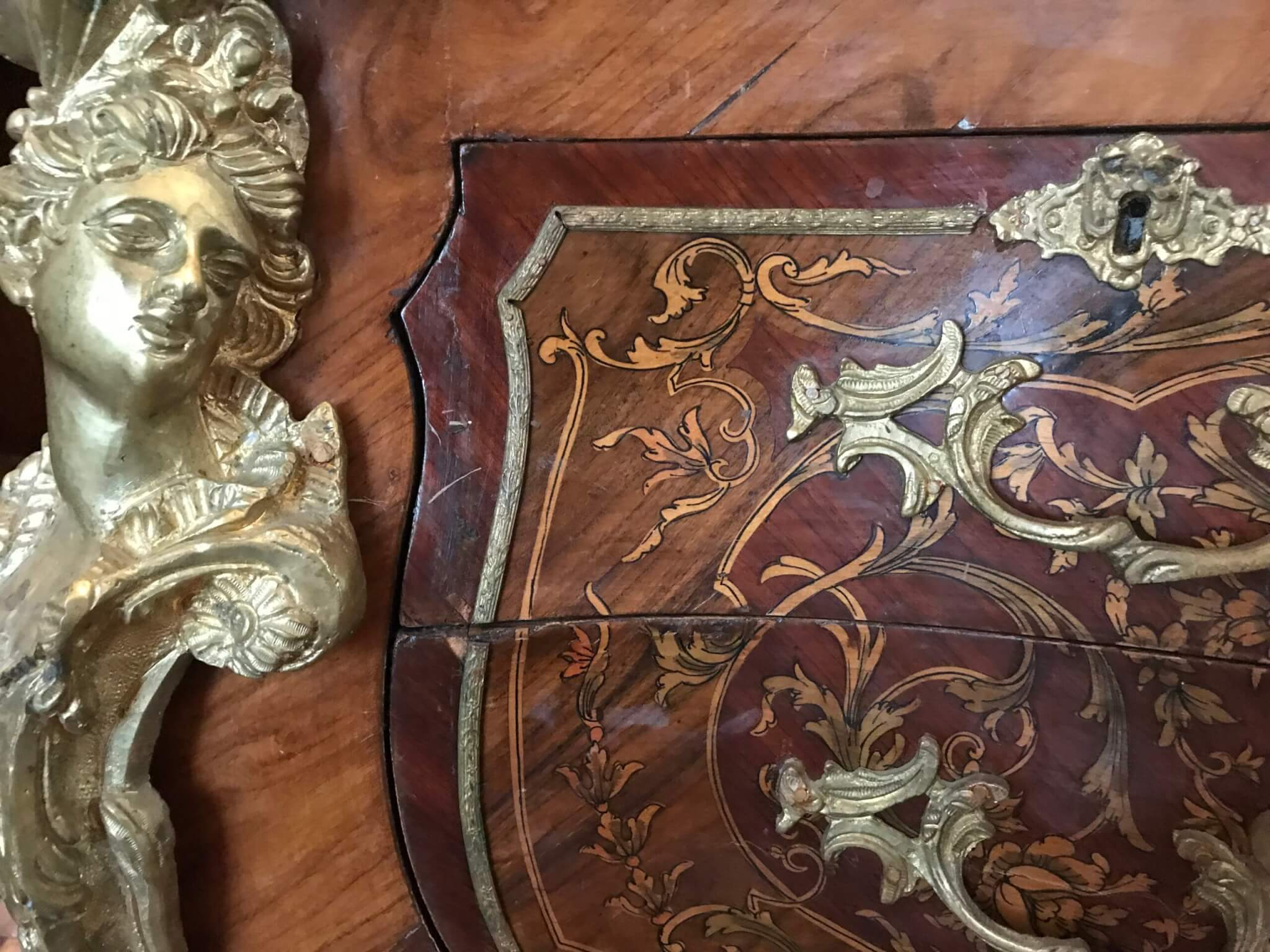 Antique furniture restoration, antique furniture conservation, inlay and veneer conservation, french polish treatments