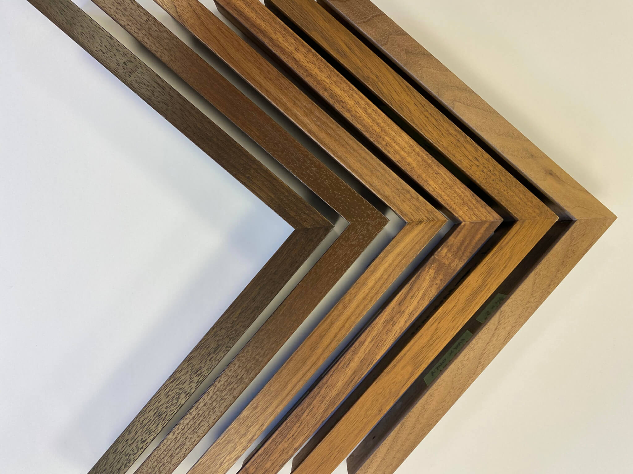 Custom stained frames custom finished hardwood frames walnut picture frames