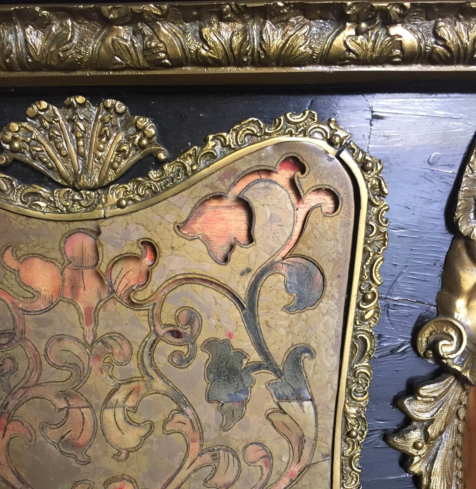 Boulle furniture treatment, boulle work resotration, furniture repair, emergency furniture services
