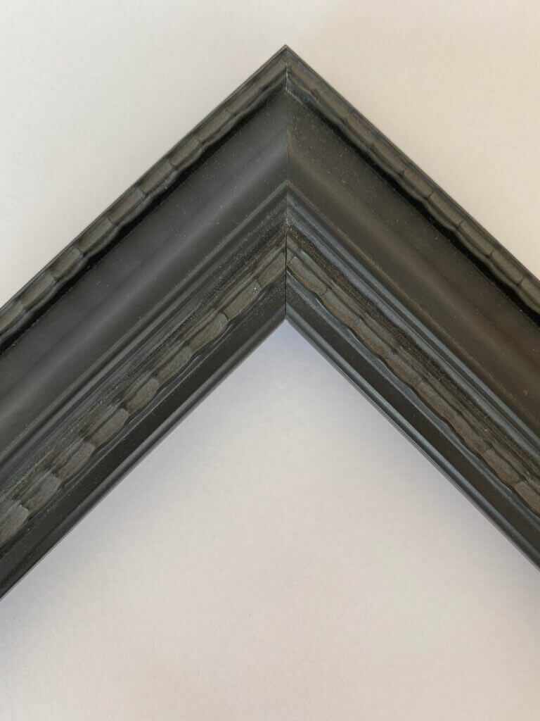 "Prefinished black custom frame with rippled lip and exterior edges 1.5"" width. Affordable alternative when a finished corner frame is not in the budget. Artifact Services custom frames Artmill Group"
