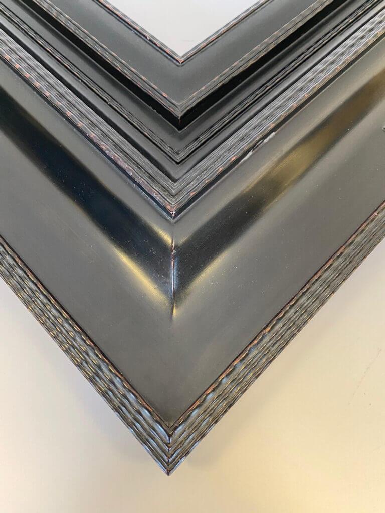 "8"" wode ebonized finish dutch frame rippled molding semi gloss black lacquer finish"