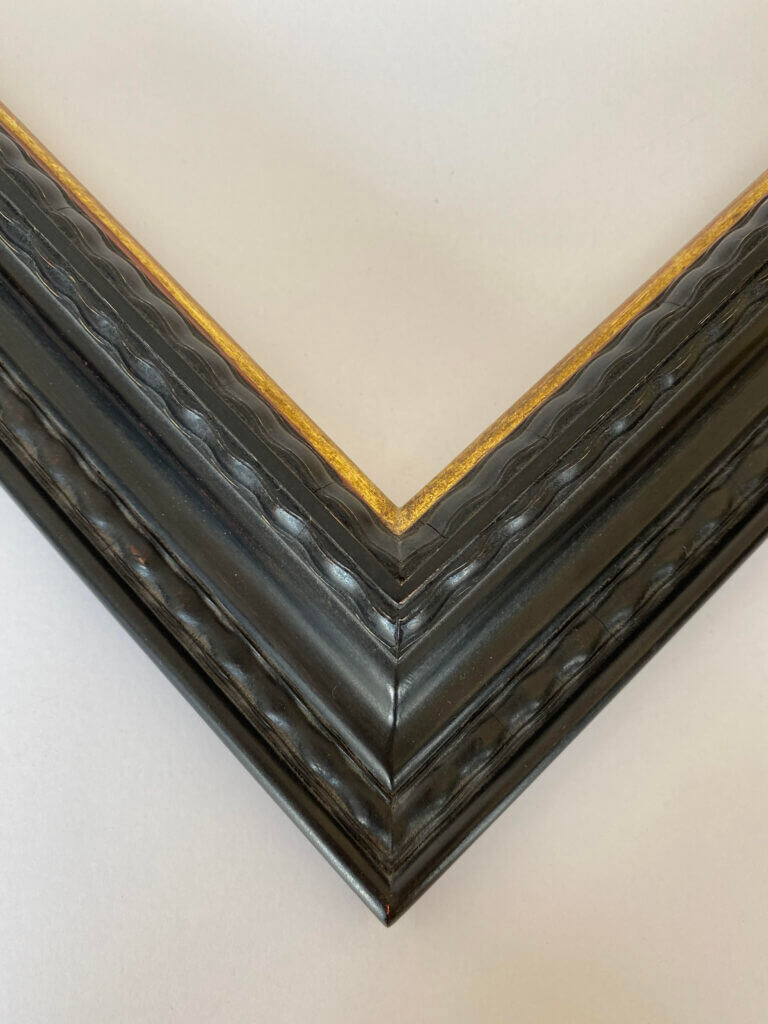 2 inch ebonized lack and 22k gold lip. artifact services april hann lanford dutch frame profile closed corner picture frame