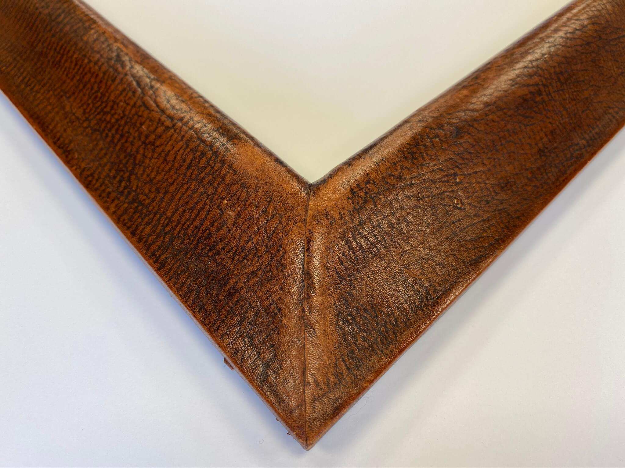 Aged brown leather custom frame chicago, custom frame nashville, April Hann Lanford Artmill Group