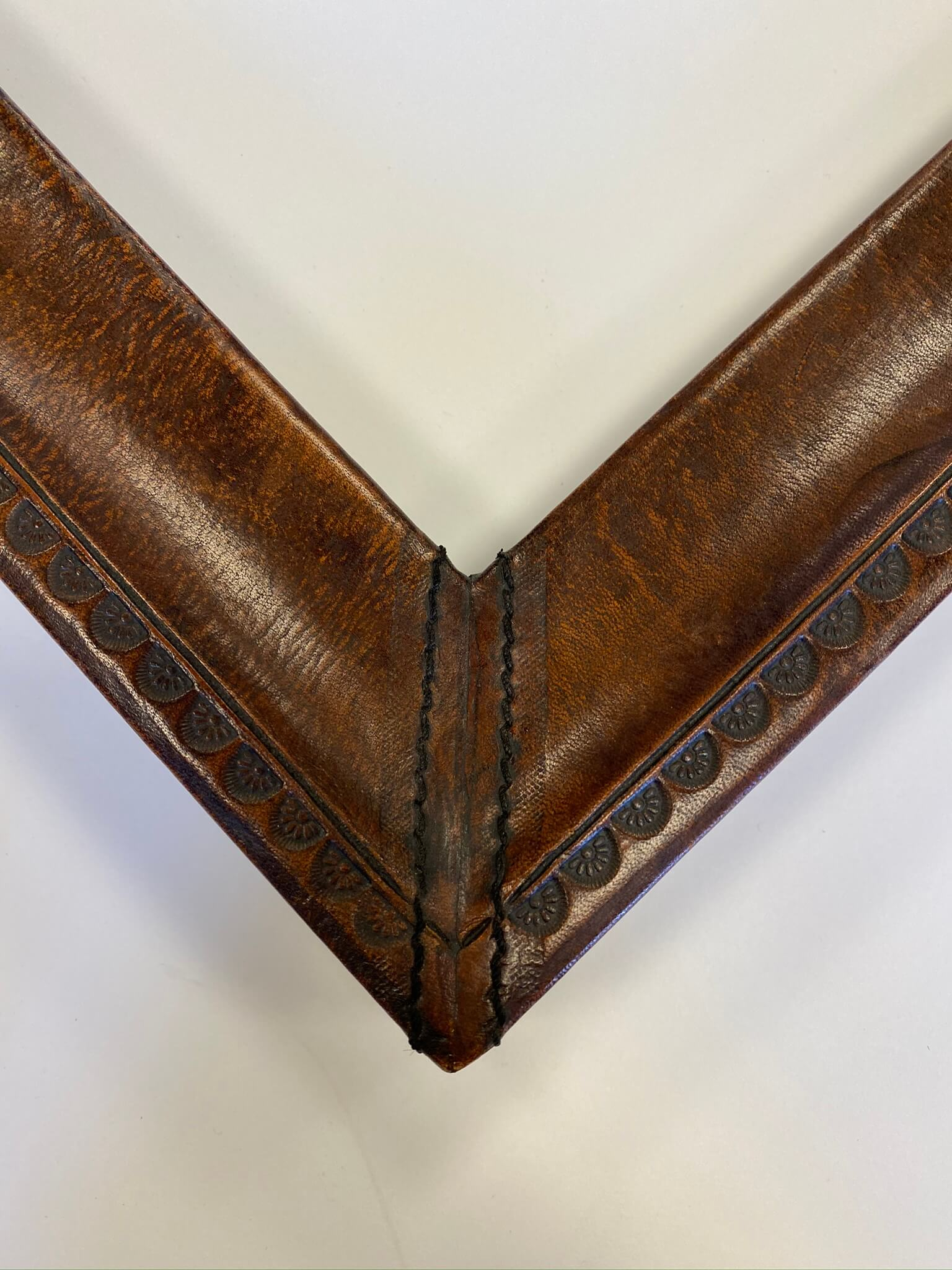 Custom brown leather frame, tooled design, April Hann Lanford, custom frames chicago, nashville custom framing