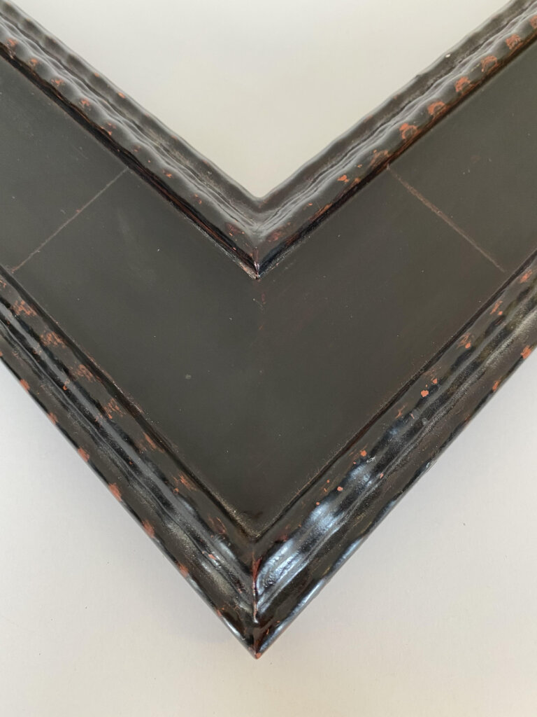 Antique black hand finsihed frame with black finished veneered panel Artifact custom frames, Artmill Group