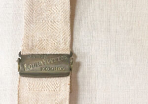 The quality of Louis Vuitton's work is apparent in the attention to detail like the details in the buckles and linen straps Even the clasps on this antique Louis Vuitton Trunk are cast with the iconic name. After restoration treatment Textile conservation Antique fabric conservation Antique trunk restoration Chicago Antique restoration Provenance conservation Artifact services claim restoration Antique conservation Trunk repair Louis Vuitton Trunk repair Antique Water restoration Artifact services Chicago Artmill Group Armand Lee The Repair Shop Chicago Antique repair Fine art conservation Heirloom Restoration April Hann Lanford