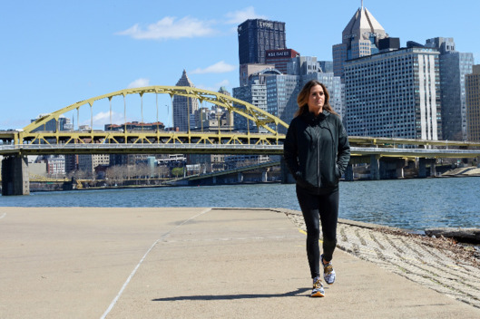 JoJo walks and thinks and thinks and walks because her hair looks so good blowing in the Pittsburgh wind.
