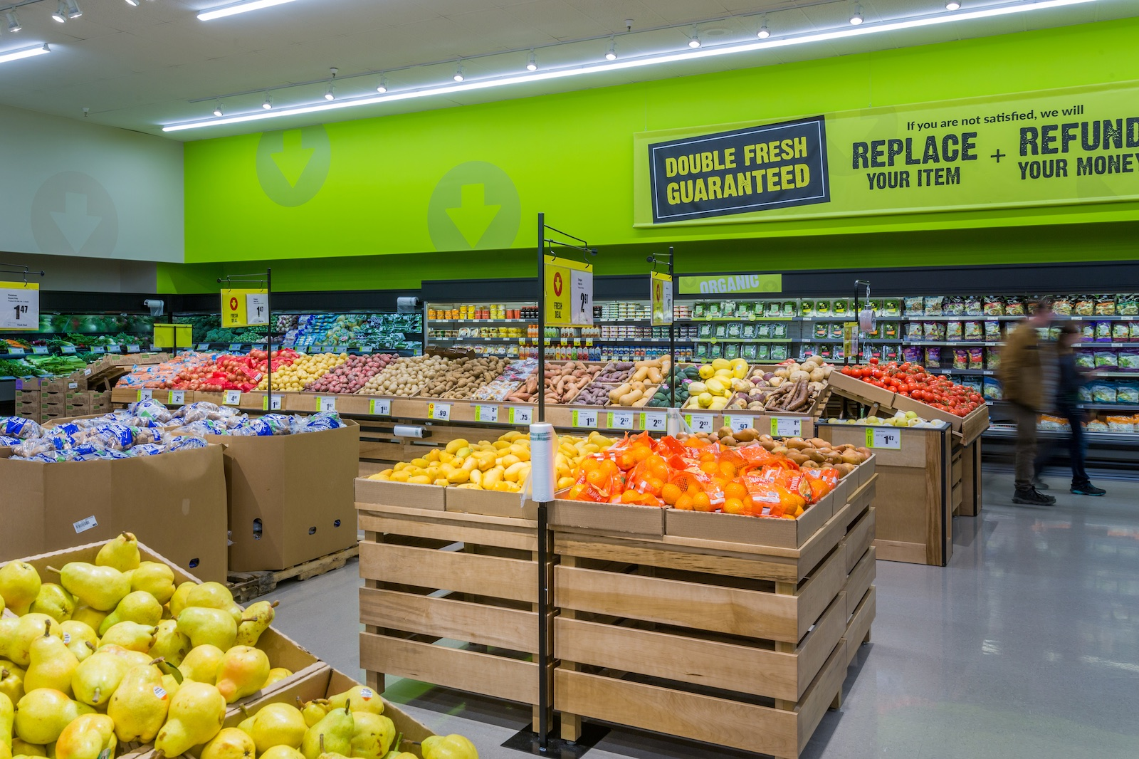 Completed Commercial Tenant Improvement project by Outline Millwork for FreshCo in Mission, BC featuring custom commercial millwork, custom cabinetry & woodworking.