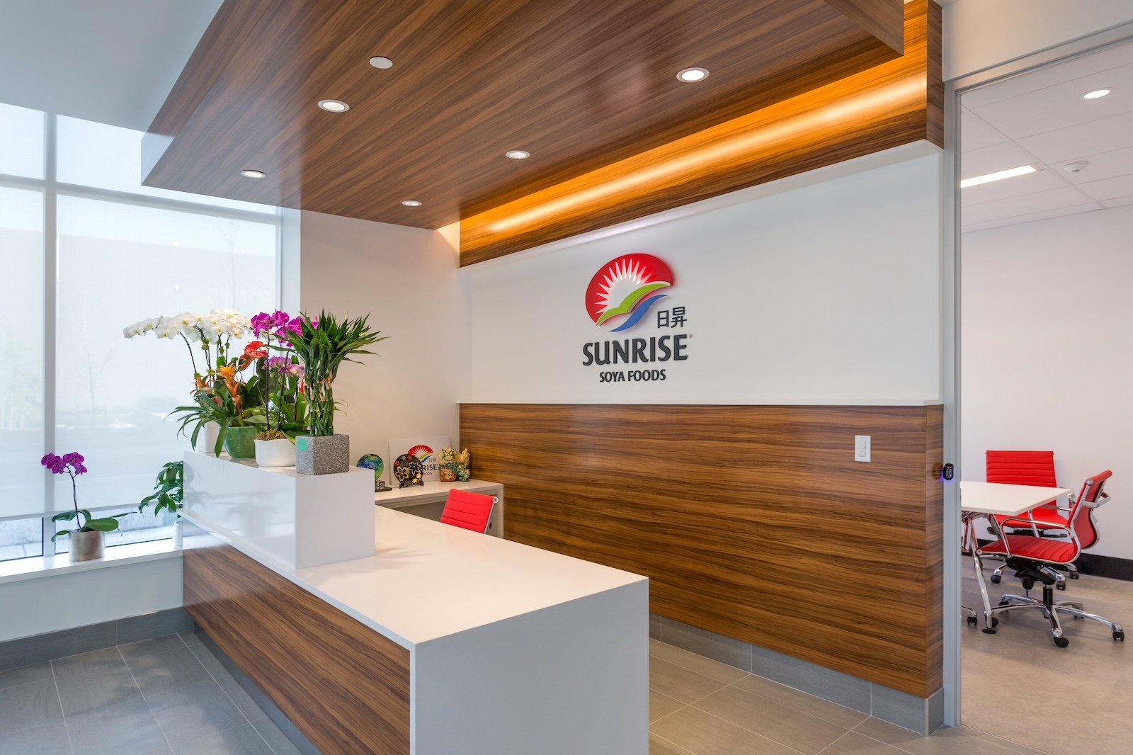 Completed Commercial Tenant Improvement project by Outline Millwork for Sunrise Soya Head Office featuring custom commercial millwork, custom cabinetry & woodworking.
