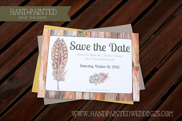Hand-Painted Save-the-Date: Birds of a Feather