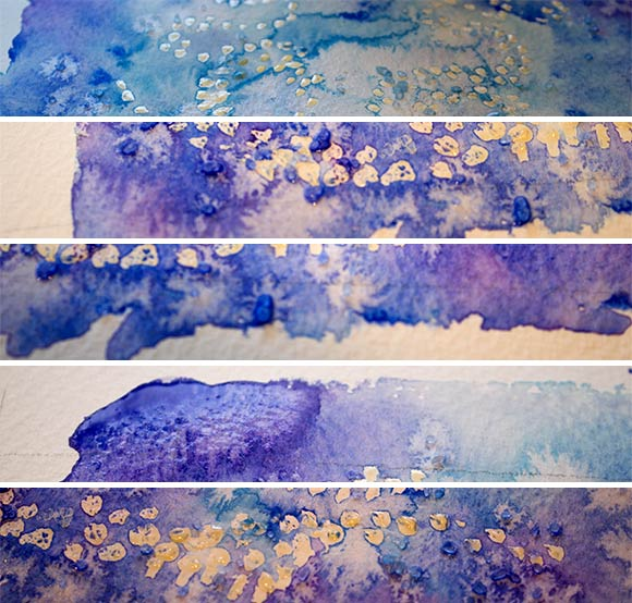Blue watercolor collage