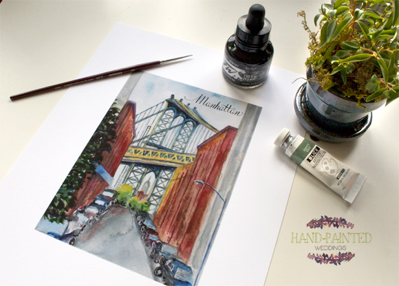 Manhattan Bridge painting by Hand-Painted Weddings