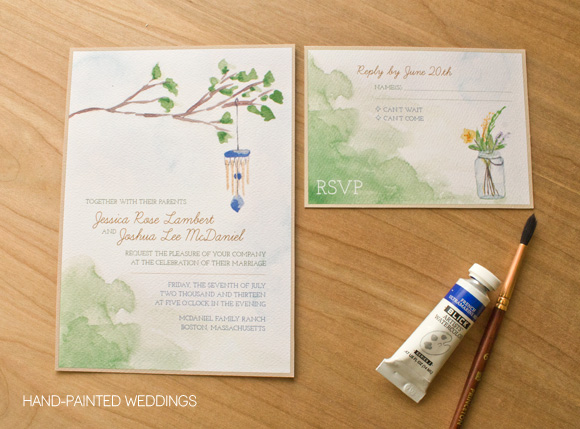 Backyard Charm Invitation by Hand-Painted Weddings