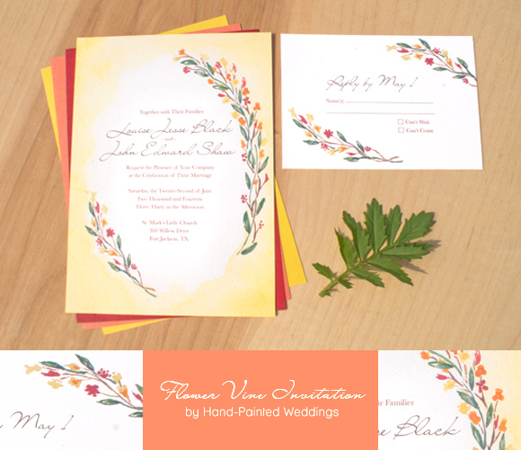 Hand-Painted Flower Vine Invitation