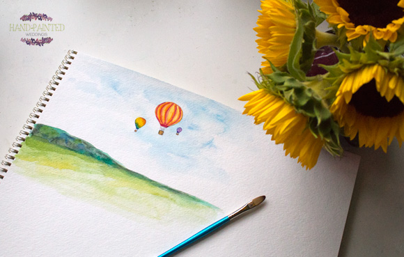 Hot Air Balloon Painting by Hand-Painted Weddings