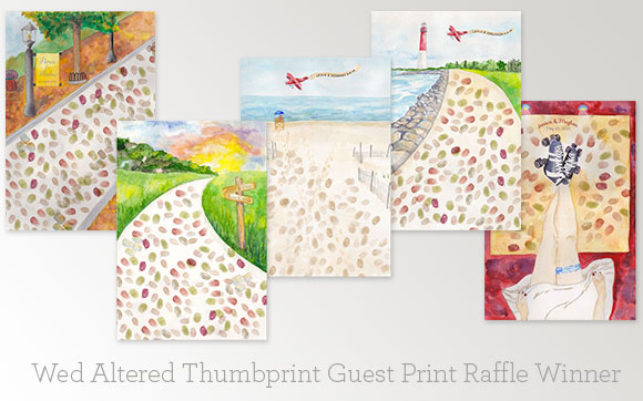 Wed Altered Hand-Painted Weddings Thumbprint Guest prints