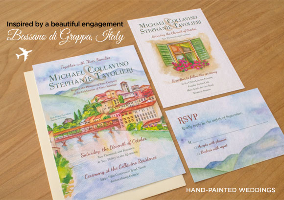 Bassano di Grappa Invitation by Hand-Painted Weddings