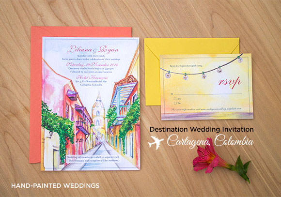 Destination Wedding Invitation to Cartagena, Columbia by Hand-Painted Weddings