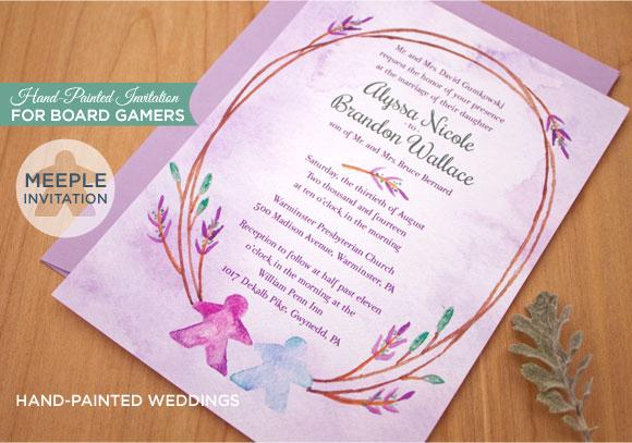 Meeple board gamers invitation by Hand-Painted Weddings
