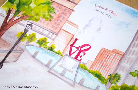 Love Park Thumbprint Guest Print by Hand-Painted Weddings