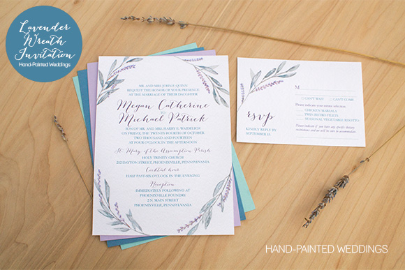 Lavender Wreath Invitation by Hand-Painted Weddings