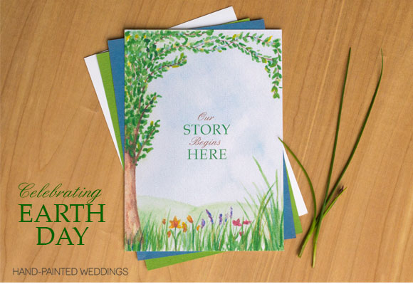 Earth Day Wedding Invitation by Hand-Painted Weddings